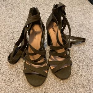 Olive Green Torrid Heeled Tie Up Shoes